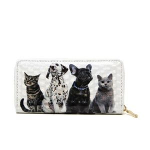 New Women Dog and Cat Pet Print Casual PU Wallet